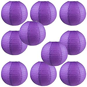 "WYZworks Round Paper Lanterns 10 Pack (Purple, 8"") - with 8"", 10"", 12"", 14"", 16"" option"