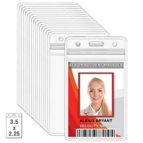 MIFFLIN Plastic ID Badge Holders, Vertical Hanging Card Holder with Zipper, Clear Bulk Nametag Holders (10 Pack)