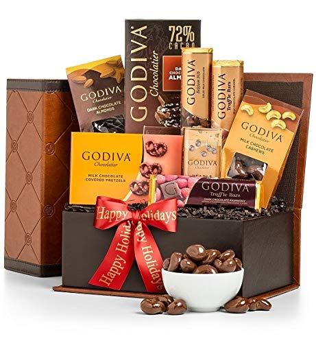 GiftTree Godiva Chocolates Gift Box | Includes Dark Chocolate Raspberry Chocoiste, Milk Chocolate Pearls, Chocolate Covered Cashews, Dark Chocolate Covered Almonds, Milk Chocolate Tablet & More
