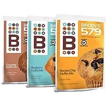 Brodys 579 Gluten free Muffin Mix - Certified Gluten free (Blueberry, Banana Chocolate Chip,Chocolate, 3 pack)