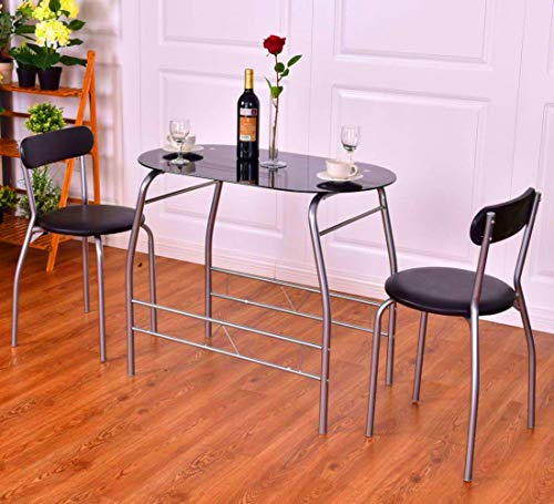 (STS SUPPLIES LTD Coffee Breakfast Nook Pub Table Set 3pc Height Dining Bar Kitchen Chairs Cafe Style Stools Dinner High Side Oval Tall Set & Ebook by AllTim3Shopping.)