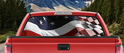 M22 Waving American and Checkered Racing Flag Faded Combo Full Color Back Window Graphic Decal Truck Backscape 60 X 18 Inches