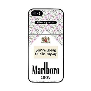 Funda carcasa para Apple iPhone 5 5S paquete de tabaco estampado flores borde negro