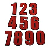 Riverbyland Iron On Patches Number 0-9 Red