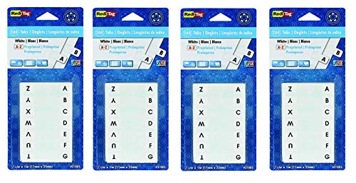 Redi-Tag Pre-Printed Index Tabs, A to Z, Permanent Adhesive, 7/16 x 1 inches, 104 Tabs per Pack, White with Black Print, Sold as 4 Pack (31005)
