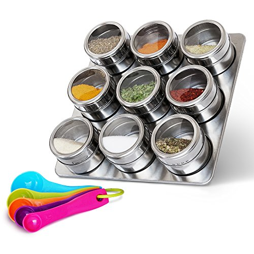 Nellam Stainless Steel Magnetic Spice Jars - Bonus Measuring Spoon Set - Airtight Kitchen Storage Containers - Stack on Fridge to Save Counter & Cupboard Space - 9pc Organizers in Silver