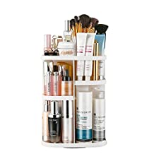 Jerrybox Makeup Organizer 360 Degree Rotation Adjustable Multi-Function Cosmetic Storage Box, Large Capacity, 7 Layers, Fits Toner, Creams, Makeup Brushes, Lipsticks and More (White)