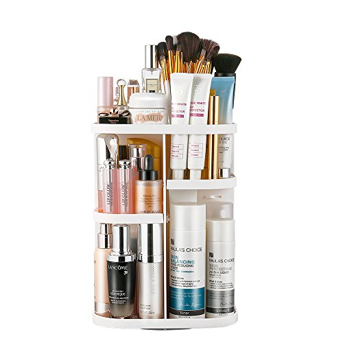 Jerrybox Vanity Organizer, 360° Rotation Makeup Organizer Spinning Holder Storage Rack for Countertop, Fits Makeup Brushes, Lipsticks, Square, White ()