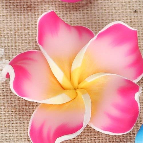 - Calvas 10pc/lot 30mm Polymer Clay Fimo Bali Frangipani Plumeria Flower Beads Charm Making Earring Necklace Pendants Jewelry Accessories - (Color: Rose Pink)