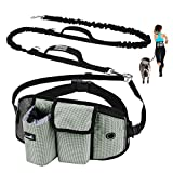 Pecute Hands Free Dog Leash with Pouch, Comfortable Shock Absorbing Bungee Dog Waist