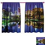 WinfreyDecor City Thermal Insulating Blackout Curtain North Carolina Marshall Park United States American Night Reflections on Lake Photo Blackout Draperies for Bedroom W55 x L39 Multicolor