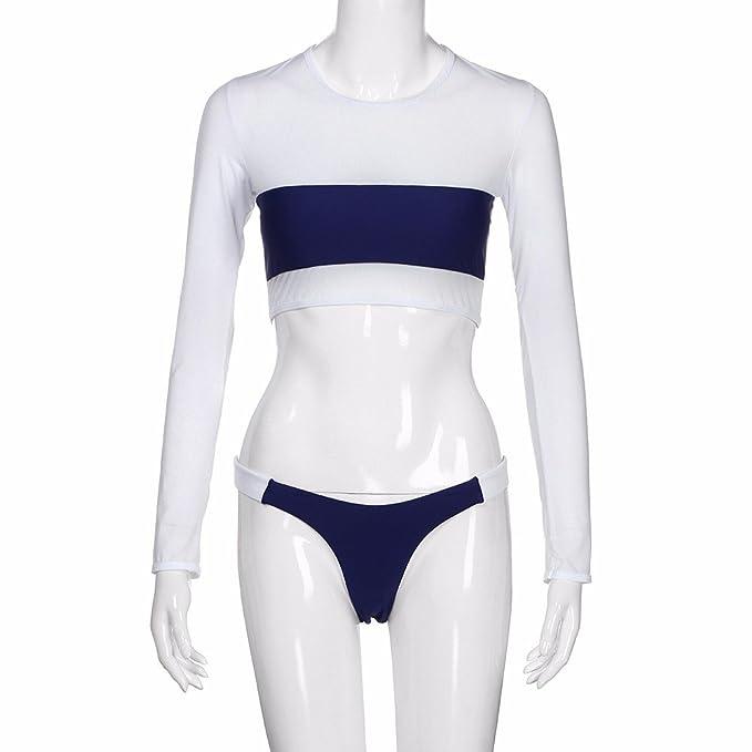 Amazon.com: AMOFINY 2019 Womens Fashion Bikini Swimsuit Push-up Padded Bra Patchwork Set Swimwear Bathing Navy: Clothing
