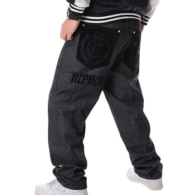 Hombres Hip Hop Baggy Jeans de la Vendimia Flocado Bordados ...