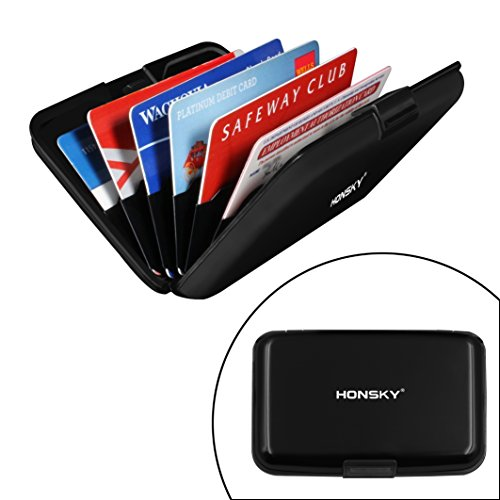 RFID Blocking Credit Card Holder, Honsky Aluminum Armored Debit ID Business Trading Card Organizer Case Protector, Metal Women Men Novelty Wallet Travel Storage File Boxes Safety Sleeves Shell, Black