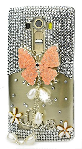 STENES LG G4 Case - Luxurious Crystal 3D Handmade Sparkle Diamond Rhinestone Clear Cover with Retro Bowknot Anti Dust Plug - Pretty Butterfly Pearl Pendant Flowers Love/Orange