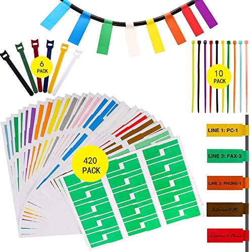 (420 Pcs Cable Tags Cable Labels Stickers Waterproof Cable Markers Printable and Handwriting Cable Organizer, 6 Pieces Reusable Hook and Loop Cord Straps and 10 Nylon Wire)