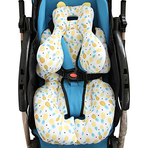 AIPINQI Head and Body Support Pillow with Neck Support for Baby Car Seat and Strollers, Pineapple.