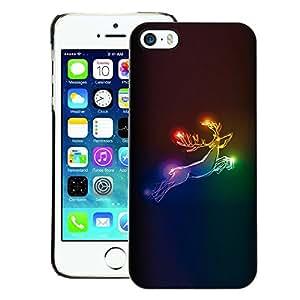 A-type Arte & diseño plástico duro Fundas Cover Cubre Hard Case Cover para iPhone 5 / 5S (Deer Xmas Christmas Rainbow Neon)
