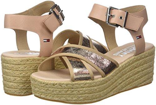 Jeans Sandal Metallic Tommy 638 Gold Flatform Pink rose Women''s awvPOdq