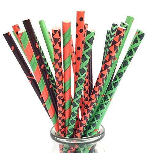 175ct Halloween Paper Straws for Drinking Party Favor Decoration Supplies (Red, Green, Black) - Halloween Straws