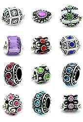 Ten Assorted Crystal Rhinestone Bead Charm Spacers