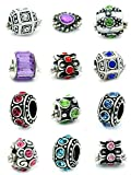 Ten Assorted Crystal Rhinestone Bead Charm Spacers