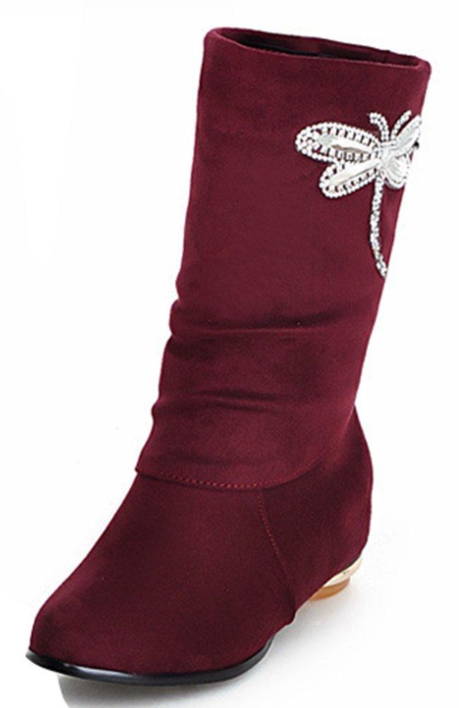 Women's Sweet Rhinestone Butterfly Flat Boots Slouchy Half Mid Calf Booties