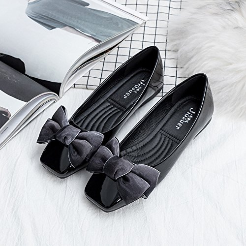 Women's thin Party Black Work Square shoes Casual deduction shoes flat Suede head ZrwXx7Zq