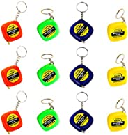 NUOBESTY 12PCS Tape Measure Keychains Mini Retractable Measuring Tape Keychains for Kids Birthday Party Favors