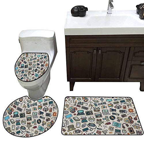 3 Piece Toilet lid Cover mat Set Doodle Complation of Various Office Gadgets Recorder Tv Laptop Monitor Tablet Switch Mouse Pattern Rug Set Multicolor