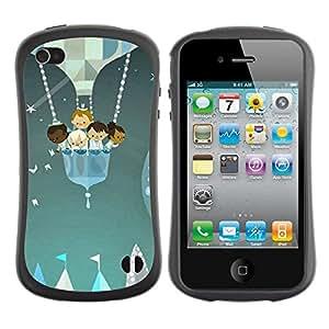 "Pulsar iFace Series Tpu silicona Carcasa Funda Case para Apple iPhone 4 / iPhone 4S , Feria Kids Estrellas Pintura Globo"""