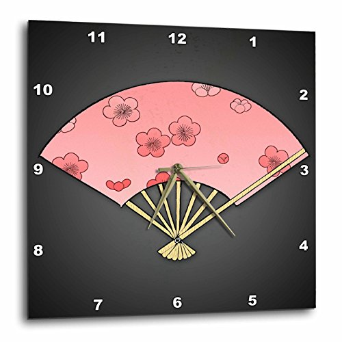 3dRose dpp_55576_2 Japanese Fan with Cherry Blossoms-Wall Clock, 13 by 13-Inch