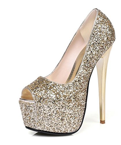 HETAO Personality Heels Spring Summer Fall Winter Club Shoes Synthetic Wedding Party & Evening Dress Stiletto Heel Silver Gold Girl's Gift Gold TAXq21D
