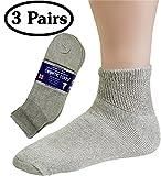 Diabetic Socks Mens Cotton 3-Pack Ankle Grey By DEBRA WEITZNER (Size 10-13)