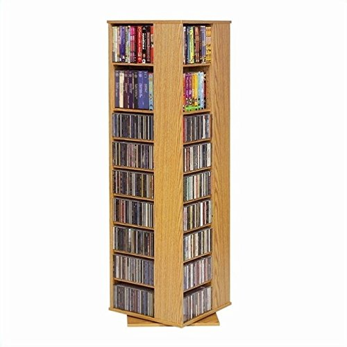 Leslie Dame CD-1040 High Capacity Spinning Multimedia Storage Tower, Oak