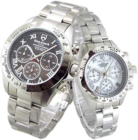 限定品 ペアウォッチ Don Clark Anne Clark カップル 腕時計 幸運のセブンダイヤモンド クロノグラフ 天然シェルダイヤル (シルバーローマ) [並行輸入品]