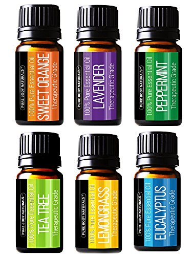 - Pure Body Natural Essential Oils Set, 100% Pure Aromatherapy Diffuser Oils, Sample Kit for Beginners, Lavender, Tea Tree, Eucalyptus, Lemongrass, Orange, Peppermint - 10 Milliliter (6 Count)