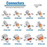 JRready DT Connector Kit 2 3 4 6 8 12 Pin Gray IP67 Waterproof Electrical Connectors Plug with 35 Pairs Barrel Style Solid Terminals Pin Sockets 14-16 AWG