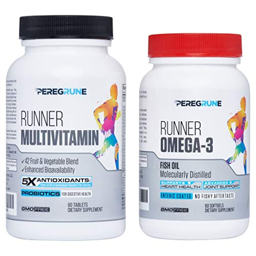 Runner Multivitamin & Omega 3 Bundle | Engineered for Runners | Antioxidants: Vitamin C (5X), Vitamin E (2X) | Energy & Vo2 Max: Vitamin B12 (10x) | Joints & Heart: 1,000mg Fish Oil