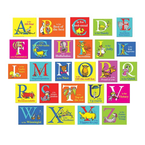 Eureka Dr. Seuss ABC Alphabet Bulletin Board Classroom Decoration for Teachers, 26pcs]()