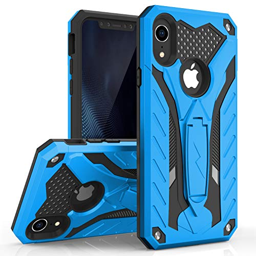 - Zizo Static Series Compatible with iPhone XR Case Military Grade Drop Tested with Built in Kickstand (Blue/Black)