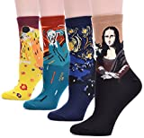 Field4U Women's 4 Pairs Famous Collection Painting Crew Socks - 4 Painting