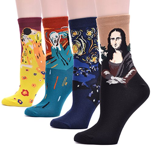Field4U Women's 4 Pairs Famous Collection Painting Crew Socks - 4 Painting , One Size from Field4U