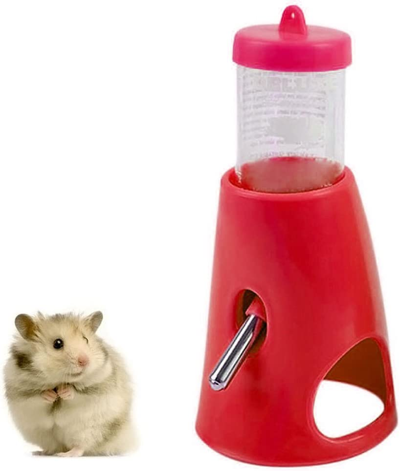 B.C Small Pet Hamster Hideout Drinking Waterer 2-in-1 Hamster Water Bottle with Base Hut for Small Animals PBA Free ¡