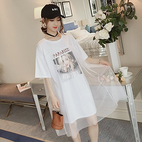 MiGMV?Couture Robe Robe, Longueur Moyenne des Femmes Jupe, T-Shirt  Manches Courtes, Robe,L,White