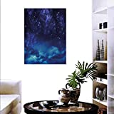 "Night Sky Decorate Stickers Wall Deep Outer Space Nebula Starry Milky Way Stars Clouds Foggy Artwork Wall Art Stickers 32""x36"" Dark Blue Light Blue"