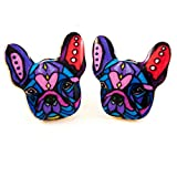 French Bulldog Earrings%3A Colorful Enam