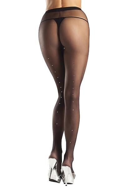 7550cc81845 Amazon.com  Be Wicked Women s plus-size Rhinestone Backseam Sheer ...