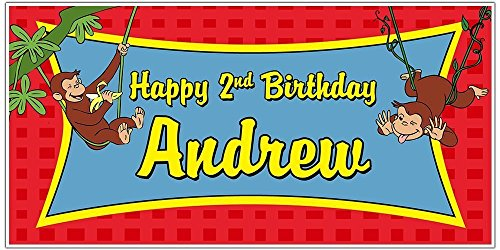 Curious George Swinging from the Trees Birthday Banner Party Backdrop -