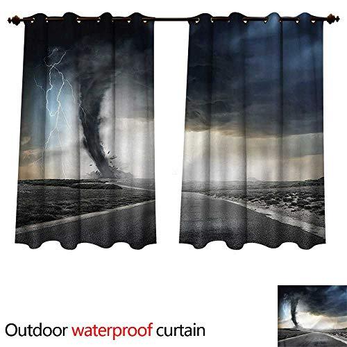 cobeDecor Nature Outdoor Balcony Privacy Curtain Black Tornado Funnel Gas W72 x L63(183cm x 160cm)